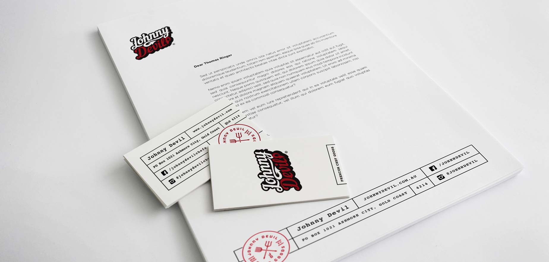Johnny Devil print mockups for corporate suite