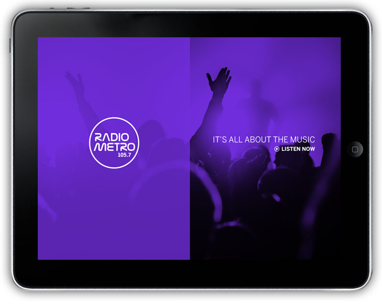 Radio Metro website preview on an iPad